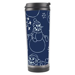 Winter Snowman Pattern Travel Tumbler by BubbSnugg