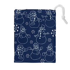 Winter Snowman Pattern Drawstring Pouches (extra Large) by BubbSnugg