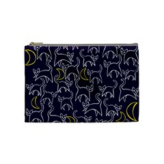 Cat And Moons For Halloween  Cosmetic Bag (medium)  by BubbSnugg