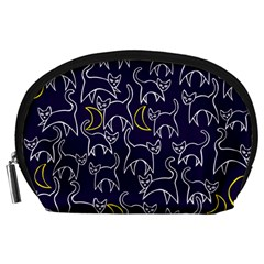 Cat And Moons For Halloween  Accessory Pouches (large)  by BubbSnugg