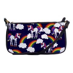 Retro Rainbows And Unicorns Shoulder Clutch Bags by BubbSnugg