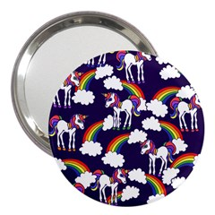 Retro Rainbows And Unicorns 3  Handbag Mirrors by BubbSnugg