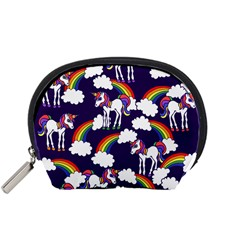 Retro Rainbows And Unicorns Accessory Pouches (small)  by BubbSnugg