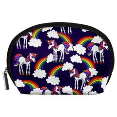 Retro Rainbows And Unicorns Accessory Pouches (large)  by BubbSnugg