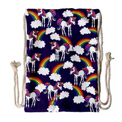 Retro Rainbows And Unicorns Drawstring Bag (large) by BubbSnugg