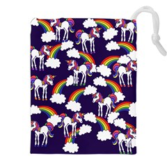 Retro Rainbows And Unicorns Drawstring Pouches (xxl) by BubbSnugg