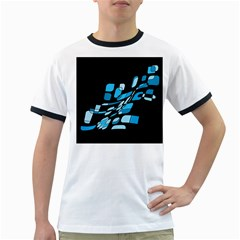 Blue Abstraction Ringer T Shirts by Valentinaart