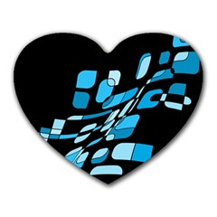 Blue Abstraction Heart Mousepads by Valentinaart