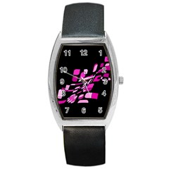 Purple Abstraction Barrel Style Metal Watch by Valentinaart