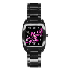 Purple Abstraction Stainless Steel Barrel Watch by Valentinaart