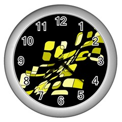 Yellow Abstraction Wall Clocks (silver)  by Valentinaart