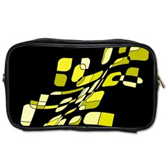 Yellow Abstraction Toiletries Bags by Valentinaart