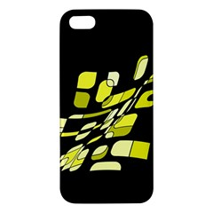 Yellow Abstraction Apple Iphone 5 Premium Hardshell Case by Valentinaart