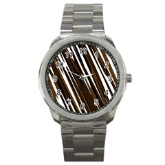 Black Brown And White Camo Streaks Sport Metal Watch