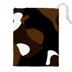 Black Brown And White Abstract 3 Drawstring Pouches (xxl) by TRENDYcouture