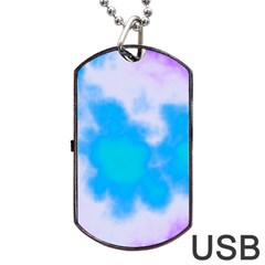 Blue And Purple Clouds Dog Tag Usb Flash (one Side) by TRENDYcouture