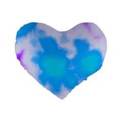 Blue And Purple Clouds Standard 16  Premium Heart Shape Cushions by TRENDYcouture