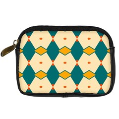 Blue Yellow Rhombus Pattern                                                                                 	digital Camera Leather Case by LalyLauraFLM