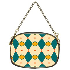 Blue Yellow Rhombus Pattern                                                                                 	chain Purse (two Sides) by LalyLauraFLM