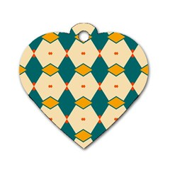 Blue Yellow Rhombus Pattern                                                                                 			dog Tag Heart (one Side) by LalyLauraFLM