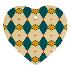 Blue Yellow Rhombus Pattern                                                                                 			ornament (heart) by LalyLauraFLM