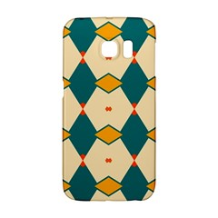 Blue Yellow Rhombus Pattern                                                                                 			samsung Galaxy S6 Edge Hardshell Case by LalyLauraFLM
