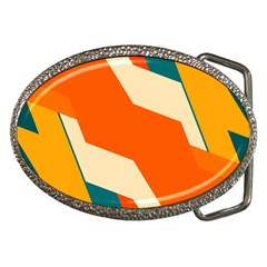 Shapes In Retro Colors                                                                                  			belt Buckle by LalyLauraFLM