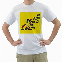 Yellow Abstraction Men s T Shirt (white) (two Sided) by Valentinaart