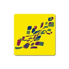Yellow Abstraction Square Magnet by Valentinaart