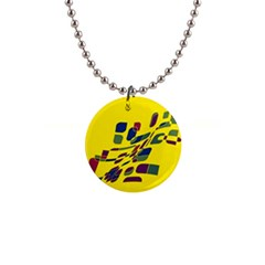 Yellow Abstraction Button Necklaces by Valentinaart