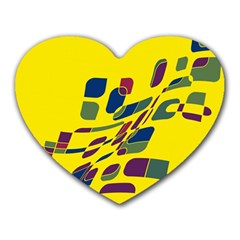 Yellow Abstraction Heart Mousepads by Valentinaart