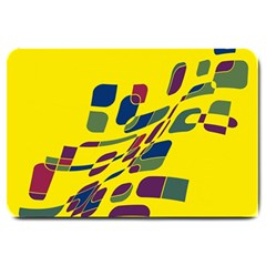 Yellow Abstraction Large Doormat  by Valentinaart