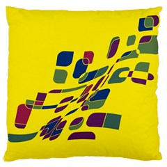 Yellow Abstraction Large Cushion Case (two Sides) by Valentinaart