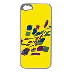 Yellow Abstraction Apple Iphone 5 Case (silver) by Valentinaart