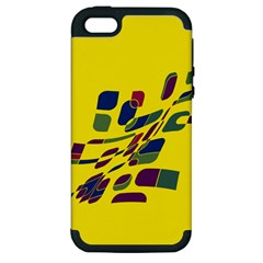 Yellow Abstraction Apple Iphone 5 Hardshell Case (pc+silicone) by Valentinaart