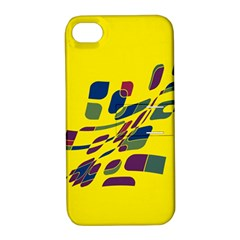 Yellow Abstraction Apple Iphone 4/4s Hardshell Case With Stand
