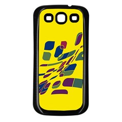 Yellow Abstraction Samsung Galaxy S3 Back Case (black) by Valentinaart