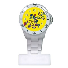Yellow Abstraction Plastic Nurses Watch by Valentinaart