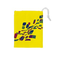 Yellow Abstraction Drawstring Pouches (medium)  by Valentinaart