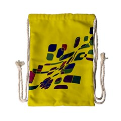 Yellow Abstraction Drawstring Bag (small) by Valentinaart