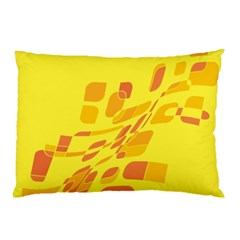 Yellow Abstraction Pillow Case by Valentinaart