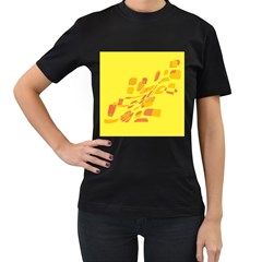 Yellow Abstraction Women s T Shirt (black) by Valentinaart