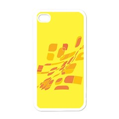 Yellow Abstraction Apple Iphone 4 Case (white) by Valentinaart