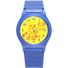 Yellow Abstraction Round Plastic Sport Watch (s) by Valentinaart