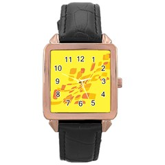 Yellow Abstraction Rose Gold Leather Watch  by Valentinaart