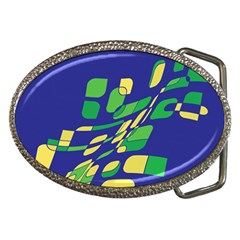 Blue Abstraction Belt Buckles by Valentinaart
