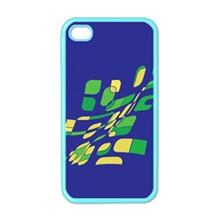 Blue Abstraction Apple Iphone 4 Case (color) by Valentinaart