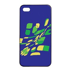 Blue Abstraction Apple Iphone 4/4s Seamless Case (black) by Valentinaart