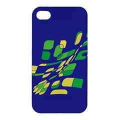 Blue Abstraction Apple Iphone 4/4s Premium Hardshell Case by Valentinaart