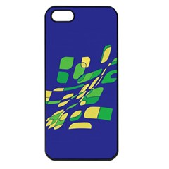 Blue Abstraction Apple Iphone 5 Seamless Case (black) by Valentinaart